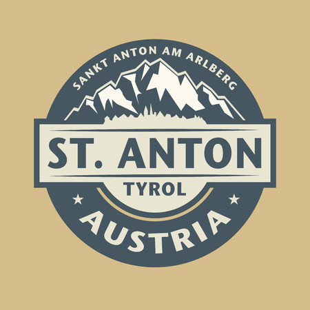 european alps: Abstract stamp with the name of town St. Anton in Austria, vector illustration Illustration