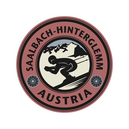 european alps: Abstract stamp or emblem with the name of Saalbach - Hinterglemm, Austria, vector illustration Illustration