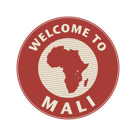 mali: Emblem or stamp with text Welcome to Mali, vector illustration