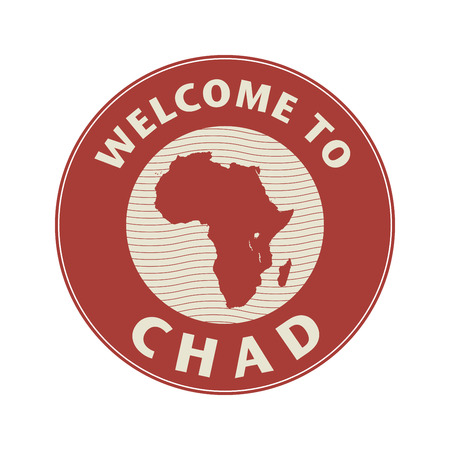 Emblem or stamp with text Welcome to Chad, vector illustration Illustration