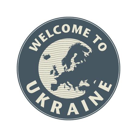 emblem of ukraine: Emblem or stamp with text Welcome to Ukraine, vector illustration