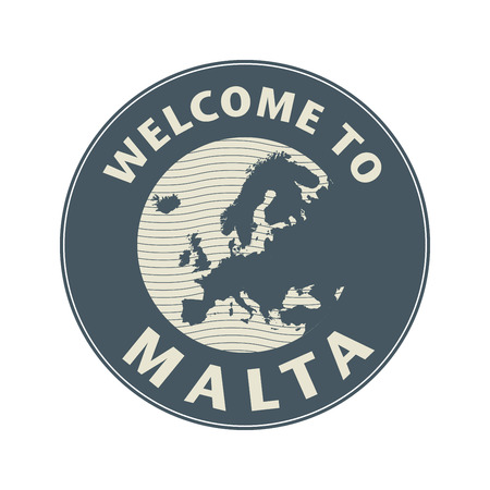 maltese map: Emblem or stamp with text Welcome to Malta, vector illustration