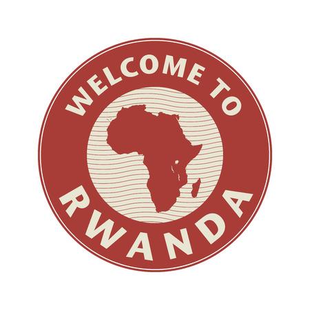 rwanda: Emblem or stamp with text Welcome to Rwanda, vector illustration Illustration