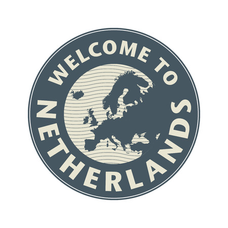 Emblem or stamp with text Welcome to Netherlands, vector illustration