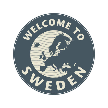 map of sweden: Emblem or stamp with text Welcome to Sweden, vector illustration
