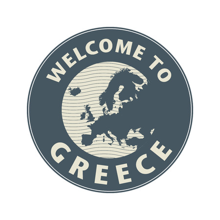 greece stamp: Emblem or stamp with text Welcome to Greece, vector illustration