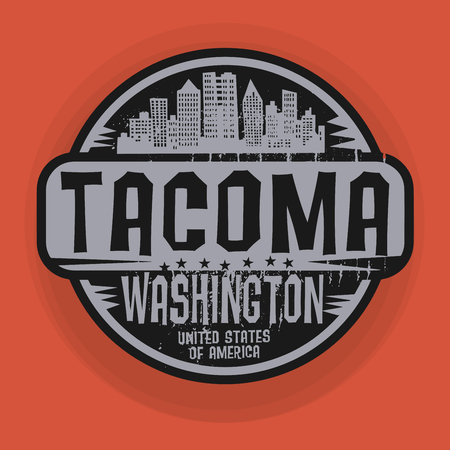 tacoma: Stamp or label with name of Tacoma, Washington, vector illustration Illustration