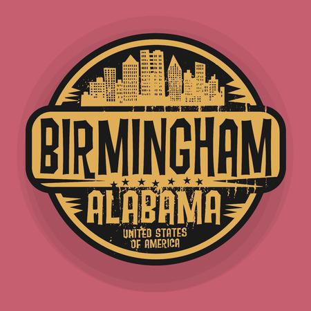 birmingham: Stamp or label with name of Birmingham, Alabama, vector illustration Illustration