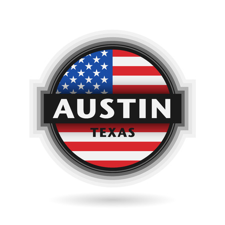 austin: Emblem or label with name of Austin, Texas, vector illustration