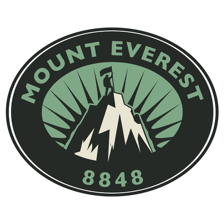 summit: Stamp or emblem with text Mount Everest, vector illustration