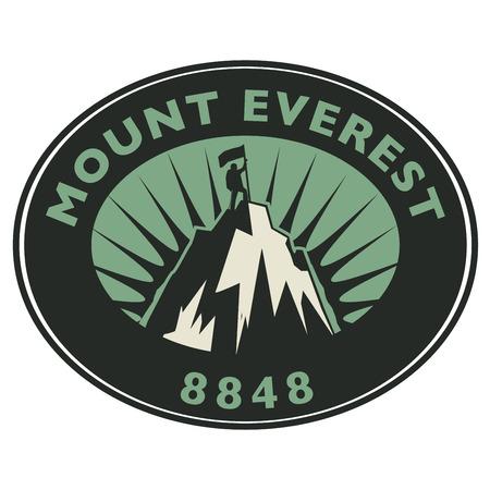 everest: Stamp or emblem with text Mount Everest, vector illustration