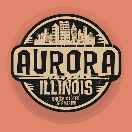 aurora: Stamp or label with name of Aurora, Illinois, vector illustration