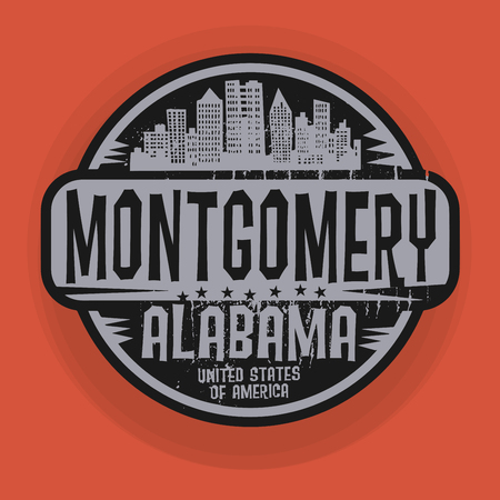 montgomery: Stamp or label with name of Montgomery, Alabama, vector illustration Illustration