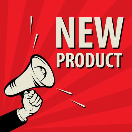 Megafono mano, concetto di business con il testo del nuovo prodotto, illustrazione vettoriale Vettoriali