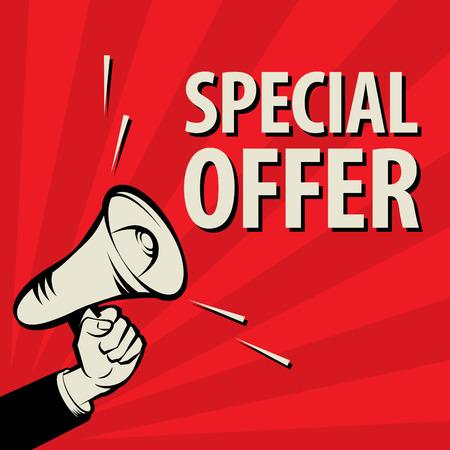 Megáfono de mano, concepto de negocio con el texto Oferta especial, ilustración vectorial Foto de archivo - 49971857