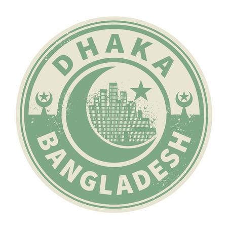 dhaka: Stamp or emblem with text Dhaka, Bangladesh inside, vector illustration Illustration