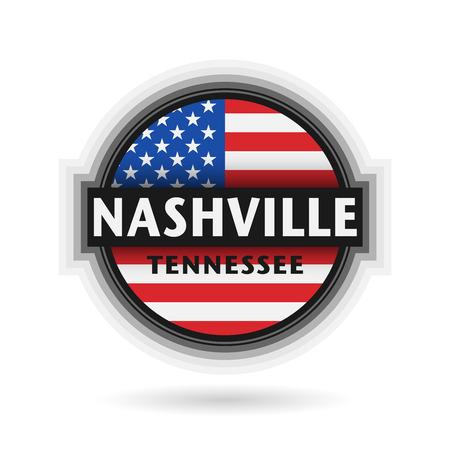 nashville: Emblem or label with name of Nashville, Tennessee, vector illustration