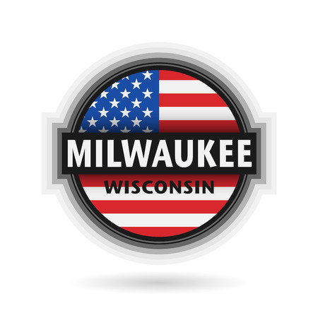 milwaukee: Emblem or label with name of Milwaukee, Wisconsin, vector illustration