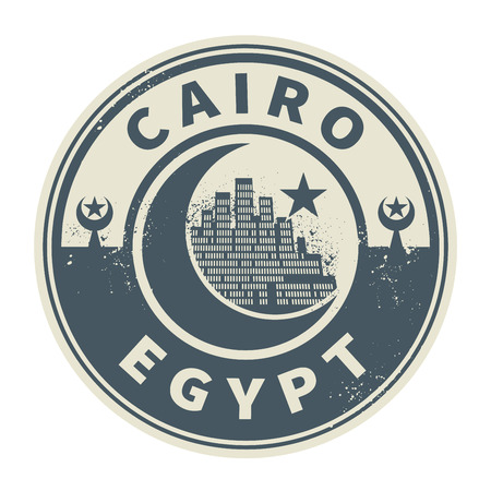 cairo: Stamp or emblem with text Cairo, Egypt inside, vector illustration