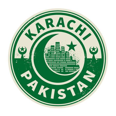 east: Stamp or emblem with text Karachi, Pakistan inside, vector illustration