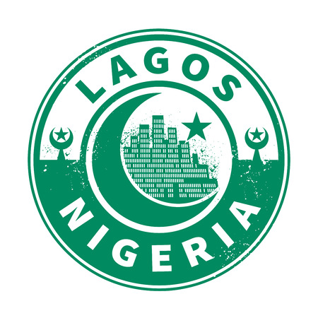 lagos: Stamp or emblem with text Lagos, Nigeria inside, vector illustration