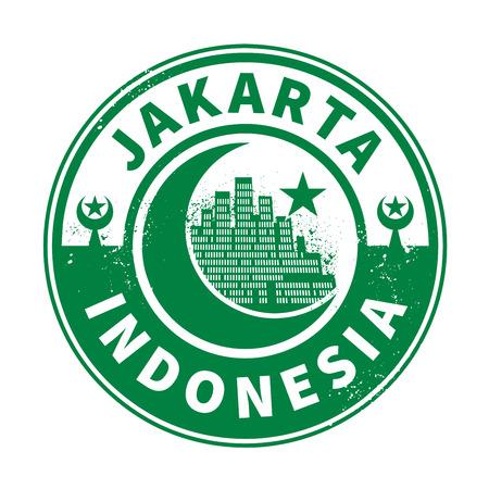 jakarta: Stamp or emblem with text Jakarta, Indonesia inside, vector illustration Illustration