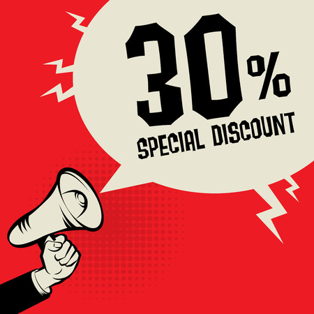 promotional offer: Megaphone Hand, business concept with text Special Discount, vector illustration