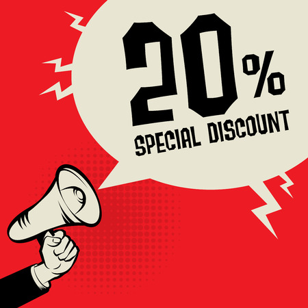Megaphone Hand, business concept with text Special Discount, vector illustration