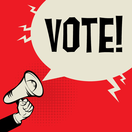 responsibility survey: Megaphone Hand, business concept with text Vote, vector illustration Illustration