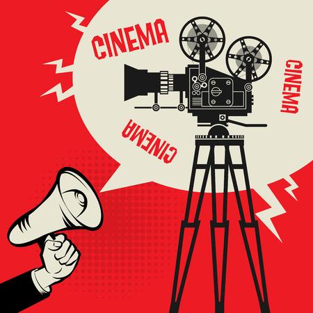 cinta pelicula: Megáfono Mano, concepto de negocio con el texto Cine, ilustración vectorial