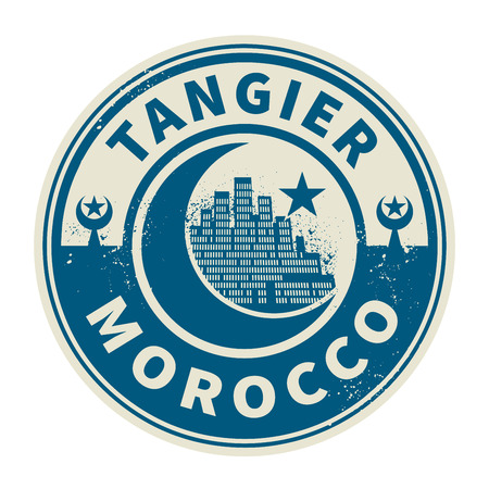 Stamp or emblem with text Tangier, Morocco inside, vector illustration