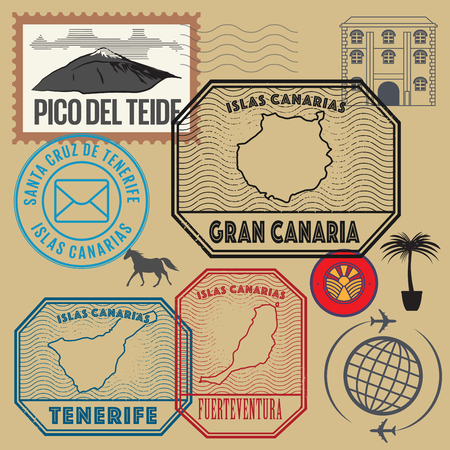 canary island: Travel stamps set, Canary Islands, vector illustration