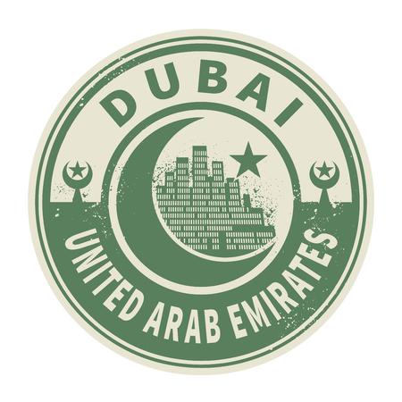 united: Stamp or emblem with text Dubai, United Arab Emirates inside, vector illustration