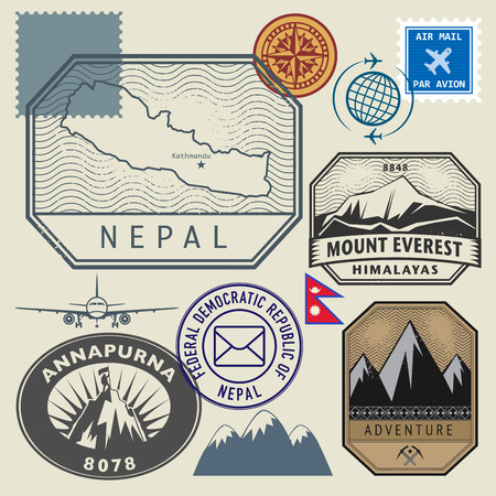 Stamp set with the name and map of Nepal, vector illustration