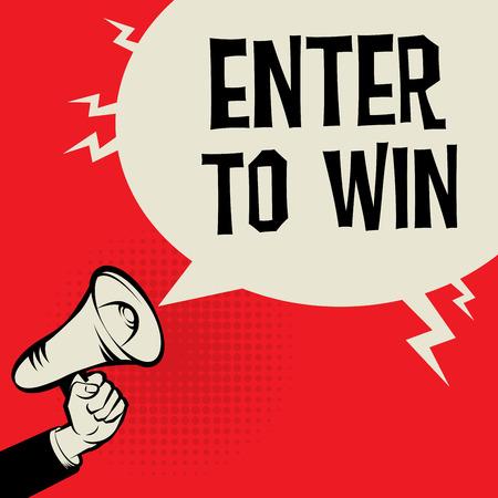 メガホン手、ビジネス コンセプト本文勝利、ベクトル図を入力してください。  イラスト・ベクター素材