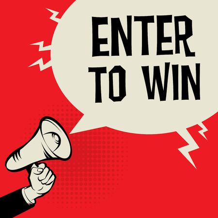 Mégaphone à la main, concept d'entreprise avec le texte Enter pour Win, illustration vectorielle