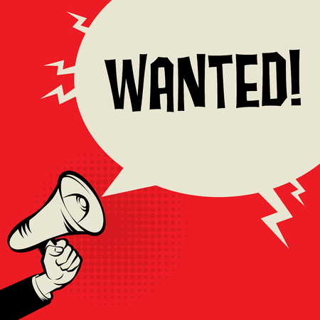 hiring: Megaphone Hand, business concept with text Wanted, vector illustration