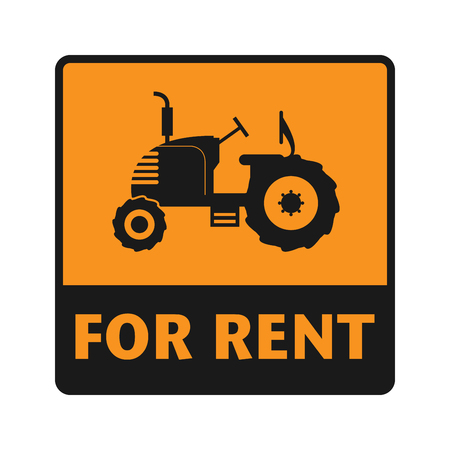 construction machines: For Rent icon or sign, vector illustration