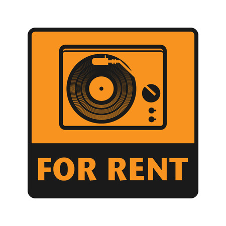 vinyl disk player: For Rent icon or sign, vector illustration