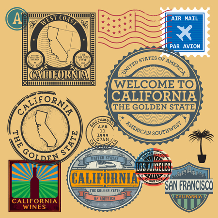 Vintage post stamps set with name of California, United States, vector illustration