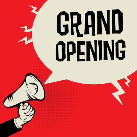 Megaphone Hand, business concept with text Grand Opening, vector illustration Vettoriali