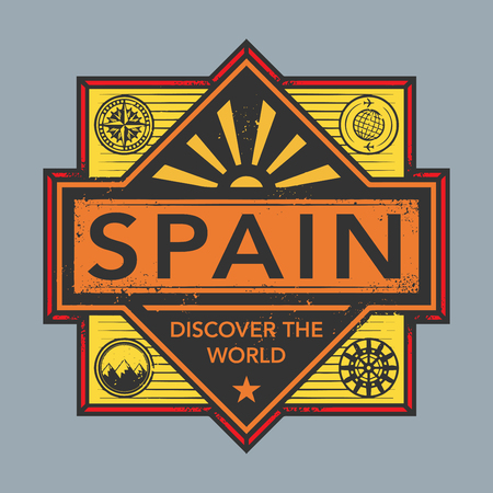 discover: Stamp or vintage emblem with text Spain, Discover the World, vector illustration