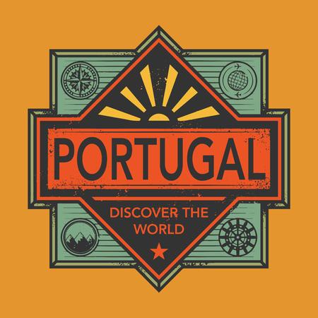 Stempel oder Vintage-Emblem mit Text Portugal, Entdecken Sie die Welt, Vektor-Illustration
