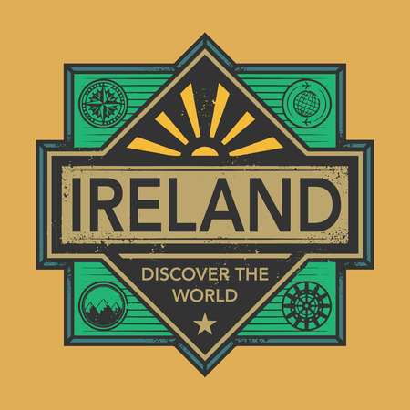 discover: Stamp or vintage emblem with text Ireland, Discover the World, vector illustration Illustration