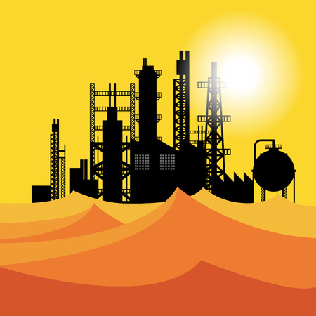 chemical plant: Oil refinery or chemical plant in desert at sunset, vector illustration Illustration