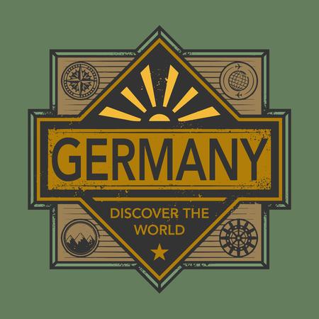 discover: Stamp or vintage emblem with text Germany, Discover the World, vector illustration Illustration