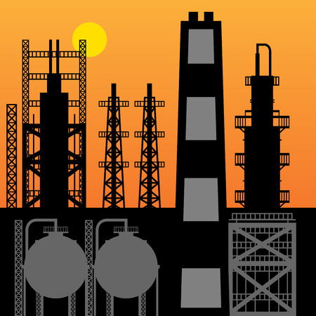 refinery: Oil refinery silhouette at sunset, vector illustration