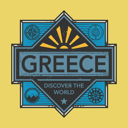 discover: Stamp or vintage emblem with text Greece, Discover the World, vector illustration Illustration