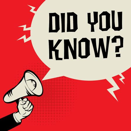 Megafoon met de hand, business concept met tekst Did You Know ?, vector illustratie Vector Illustratie