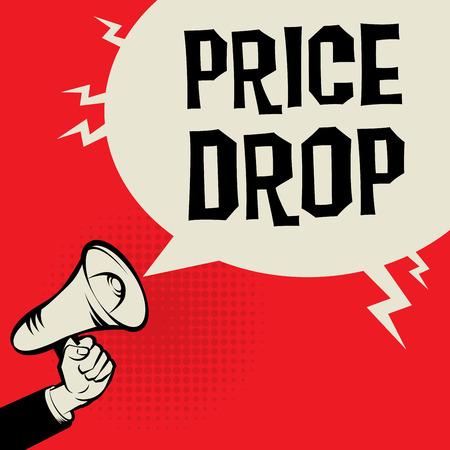 Mégaphone à la main, concept d'entreprise avec le texte Chute de prix, illustration vectorielle